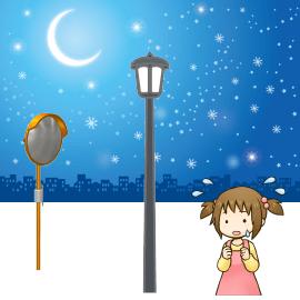 街灯とカーブミラーと女の子のイラスト