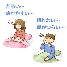 寝起きで辛そうな男性と女性のイラスト
