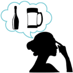 アルコール依存症に悩む女性のシルエット
