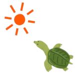 太陽の下で暑がっているスッポンのイラスト