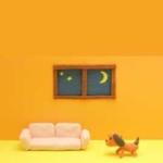 夜の寝室で目を閉じたワンちゃんがくつろいでいるクレーアート
