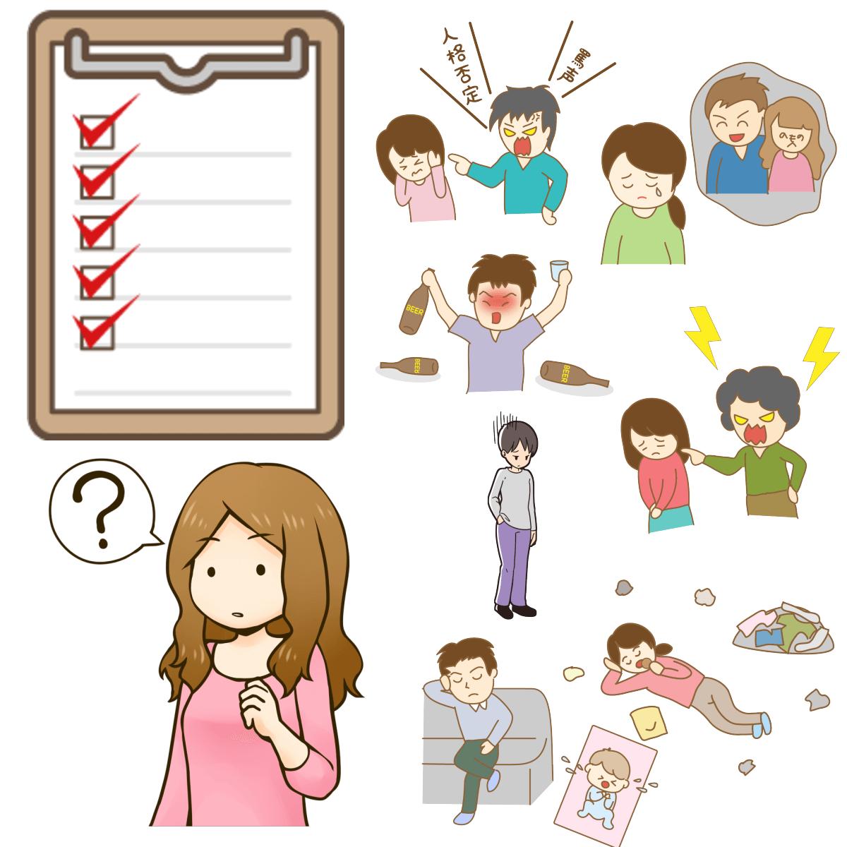 人間関係、家族、アルコール依存、子育て、恋愛、結婚などアダルトチルドレン問題や特徴をチェックしているイメージ
