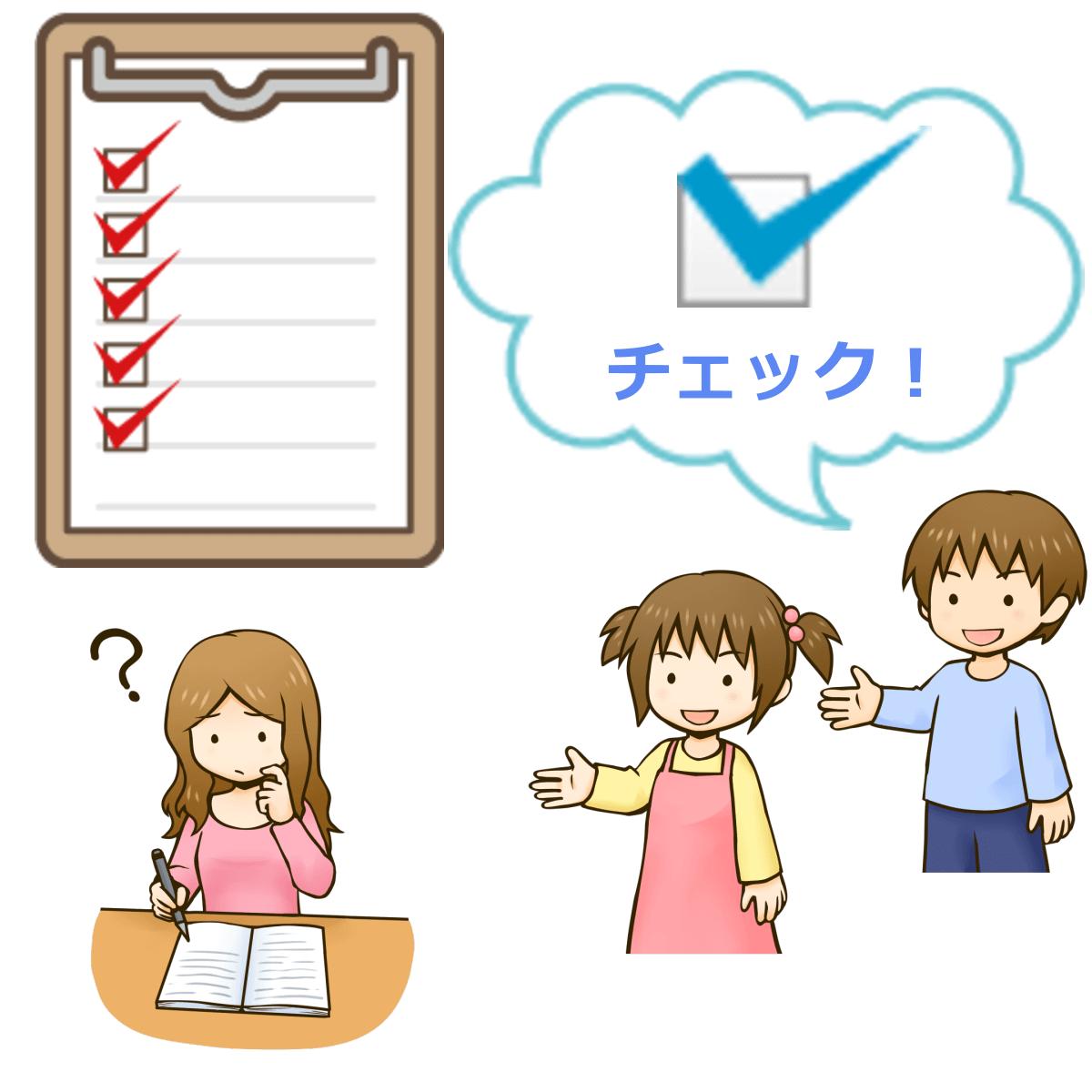 アダルトチルドレン(ac)チェックリストの手順を説明しているイラスト