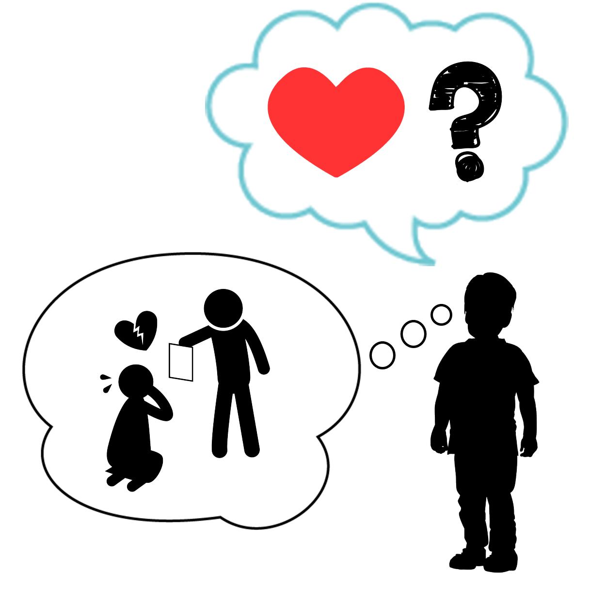 ロストワンタイプの恋愛傾向と機能不全家族の関係を表すイラスト