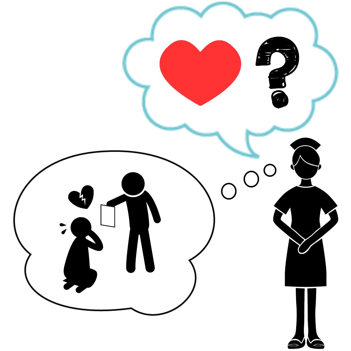 ケアテイカータイプの恋愛傾向と機能不全家族の関係を表すイラスト