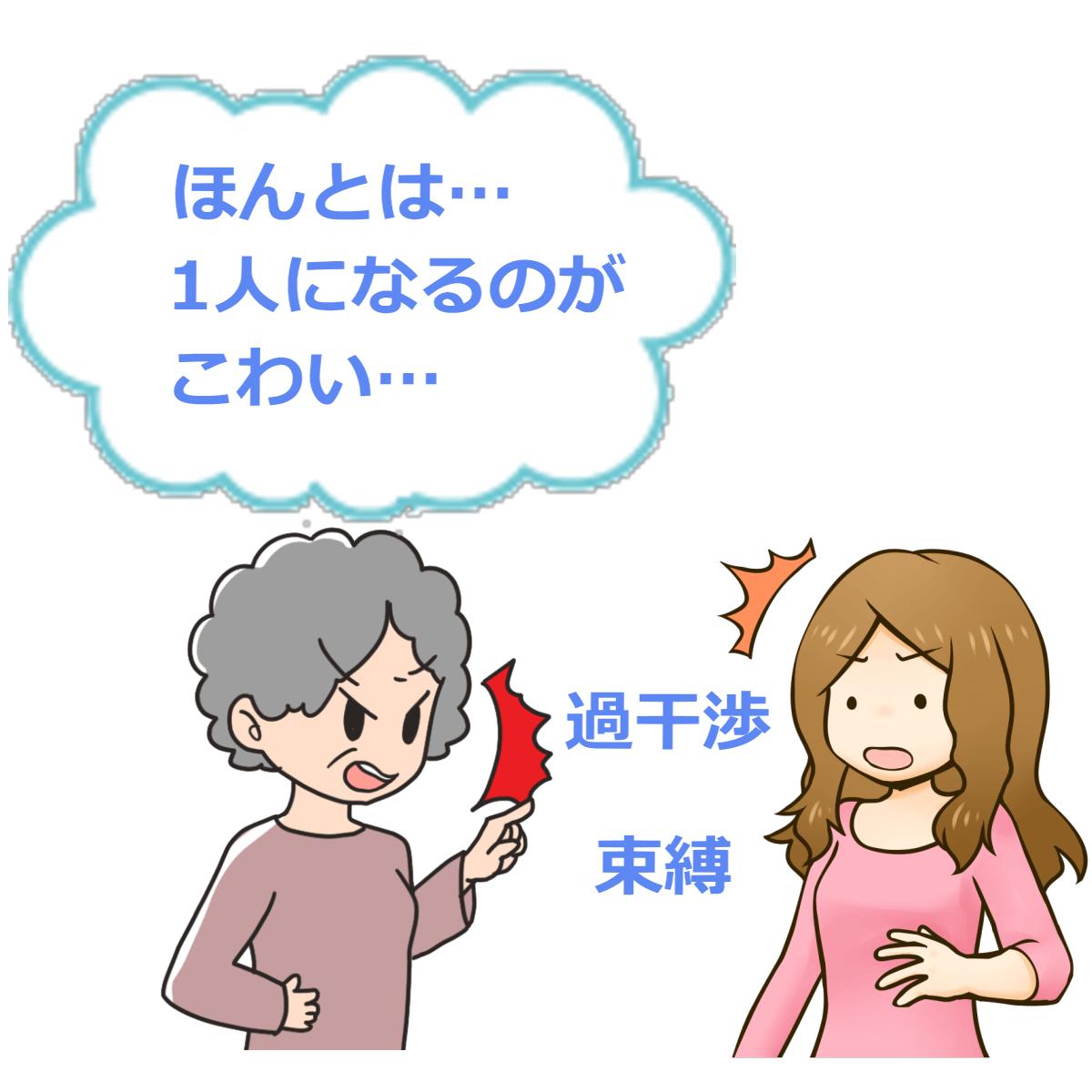 過干渉をする親の心理を表わすイラスト