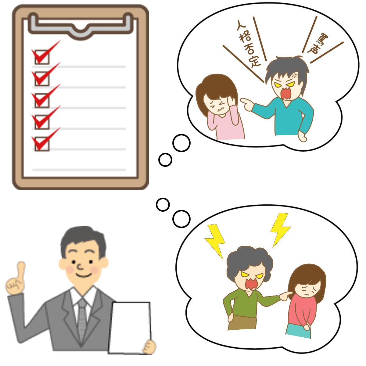 毒親チェックリストで父親と母親が持つ毒親の特徴をチェックしているイメージ