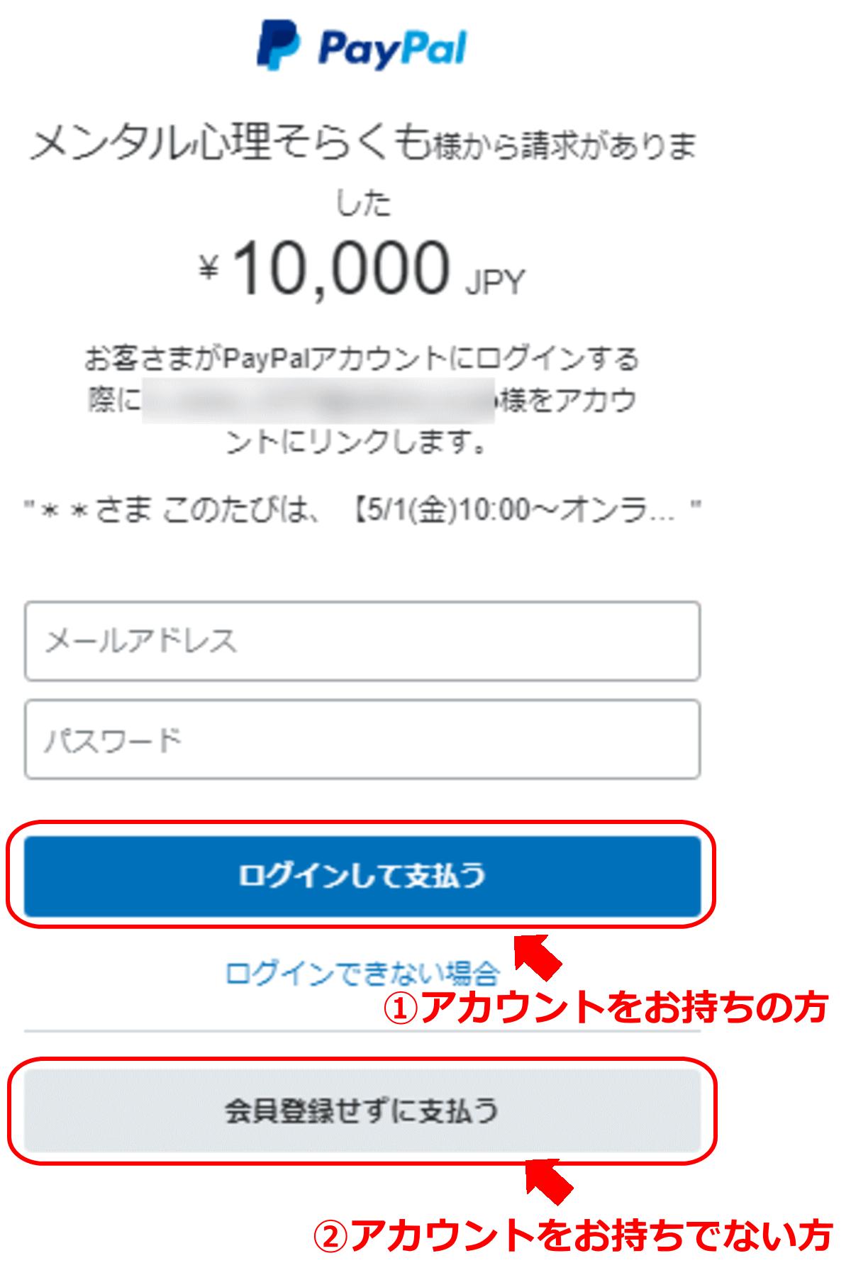 paypalログイン画面のイメージ