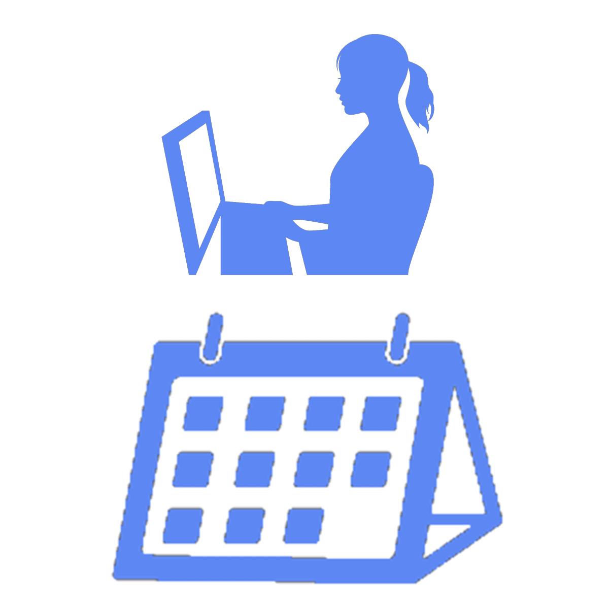 オンラインカウンセリングの予約状況を表すイラスト