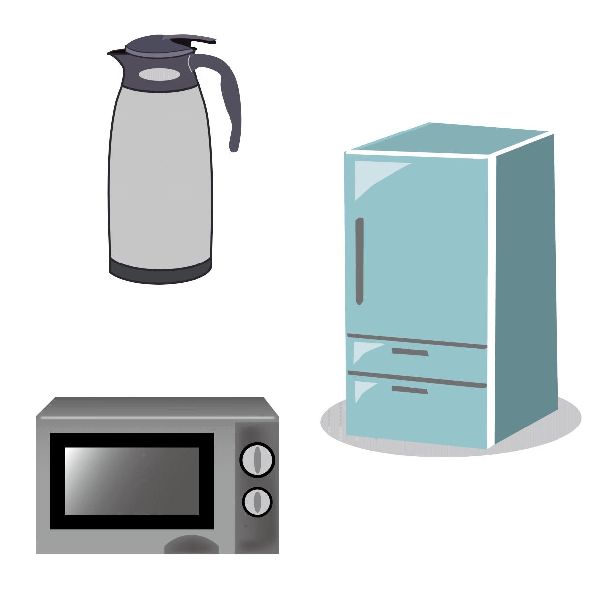 電子レンジ、冷蔵庫、ポットのイラスト
