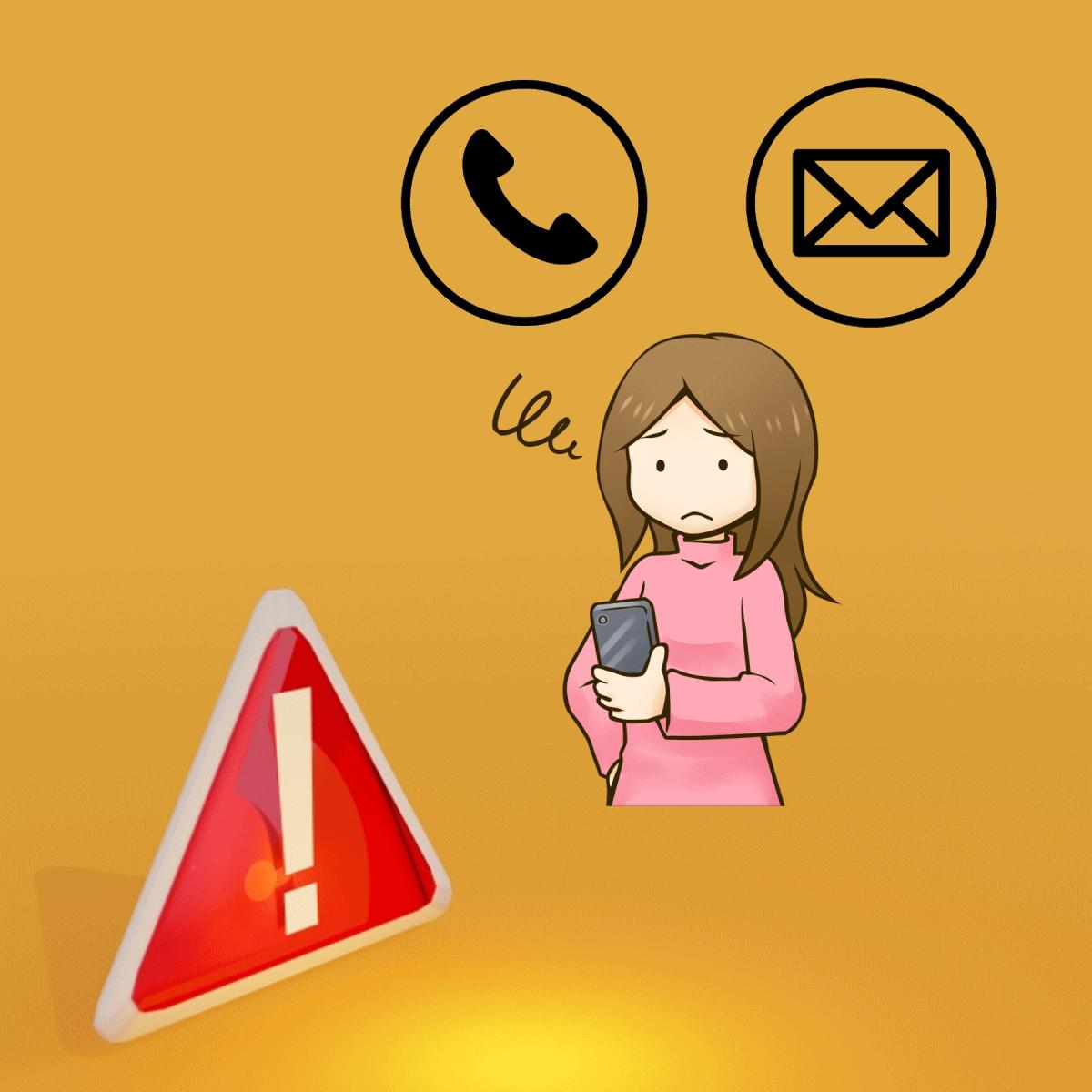 電話・メールで連絡する際の注意事項を表わすイラスト