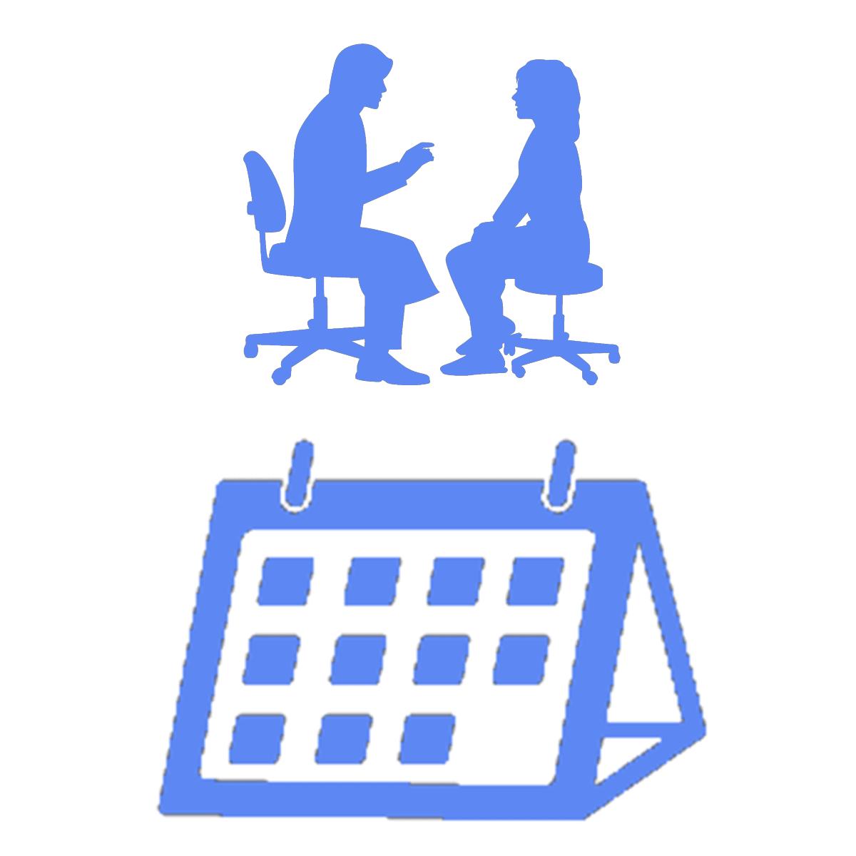 対面カウンセリングの予約状況を表すイラスト