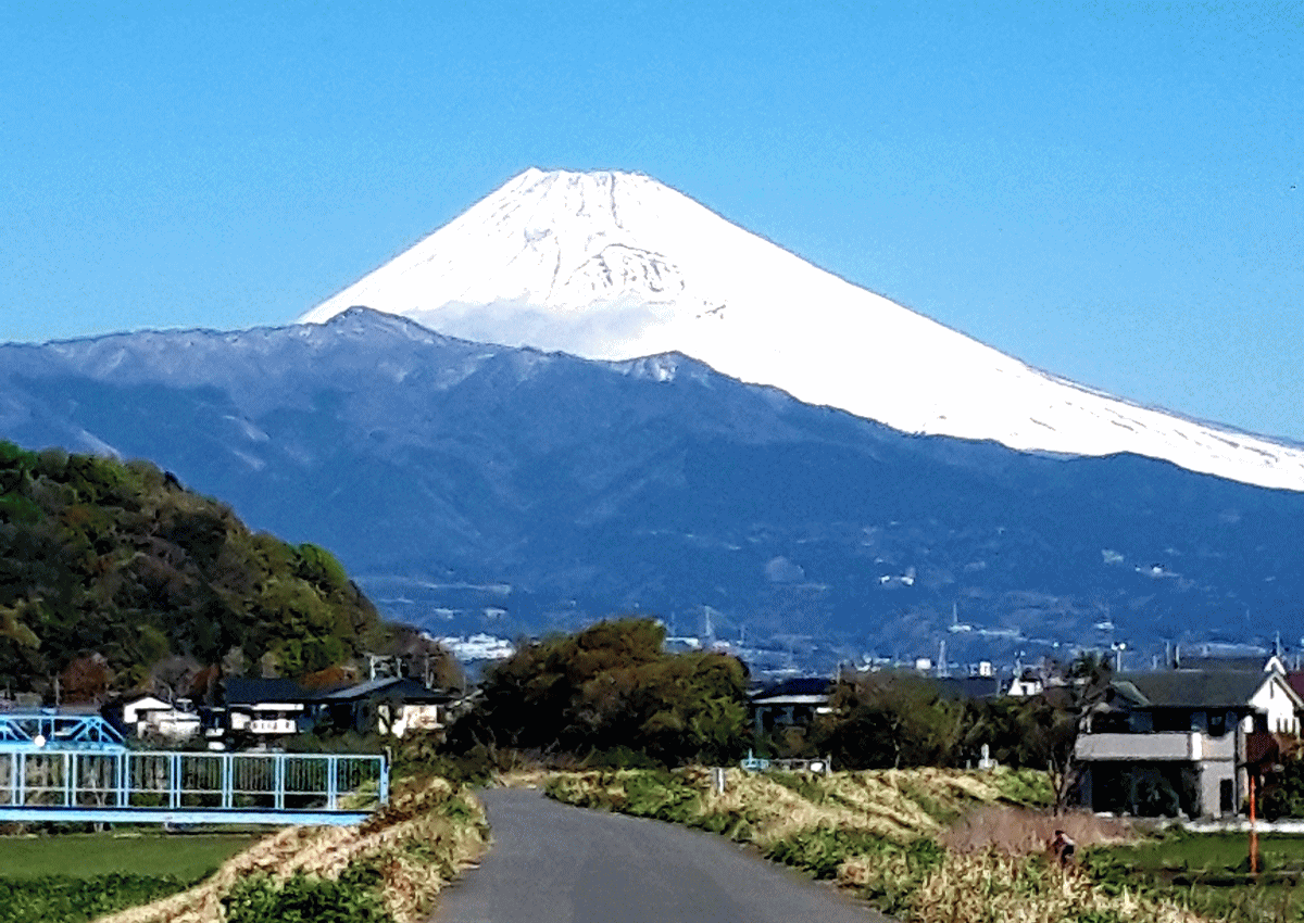 狩野川の堤防から撮影した富士山の写真