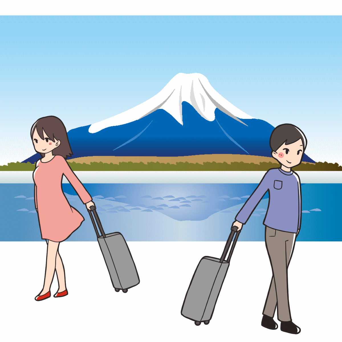 伊豆半島を旅行している様子を表しているイラスト