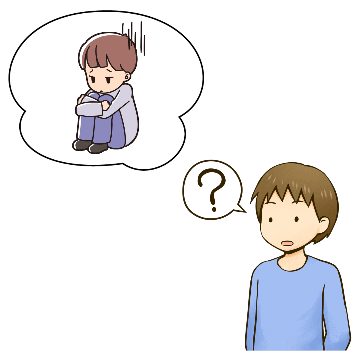 自己否定をしている自分の気持ちを分析している様子を表すイメージ