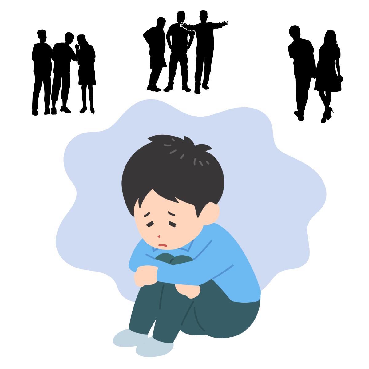 人間関係の距離感がわからないという毒親育ちの男性の性格的な特徴を表すイラスト