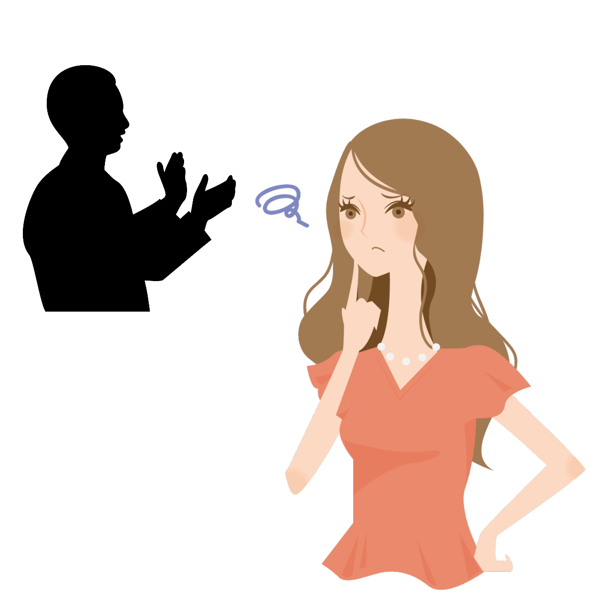 相手に意見が言えないという毒親育ちの女性の恋愛傾向を表すイラスト