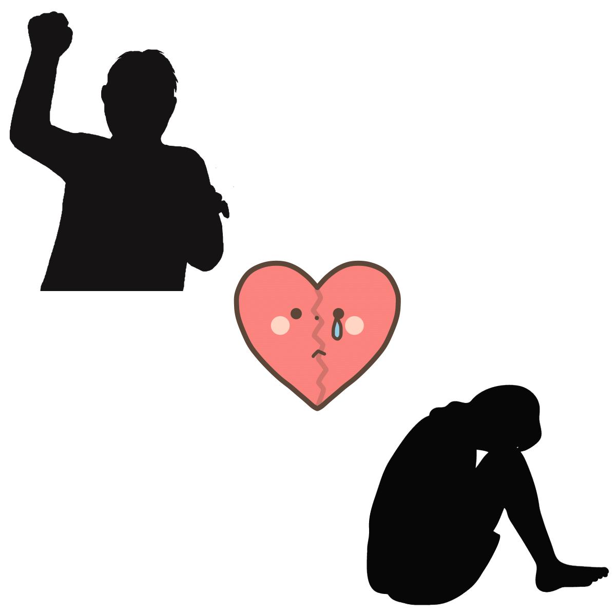 毒親育ちの性格的な特徴と恋愛傾向の男女による違いを表すイラスト