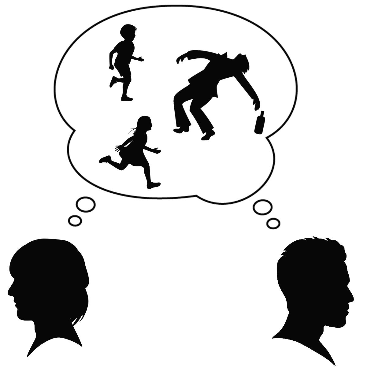 アダルトチルドレンとアルコール依存症の関係を表しているイラスト