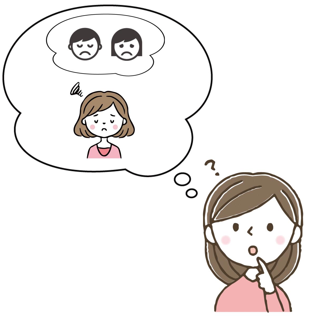 不機嫌な父親と心配性な母親が気になって落ち着かないインナーチャイルドの様子を表すイラスト